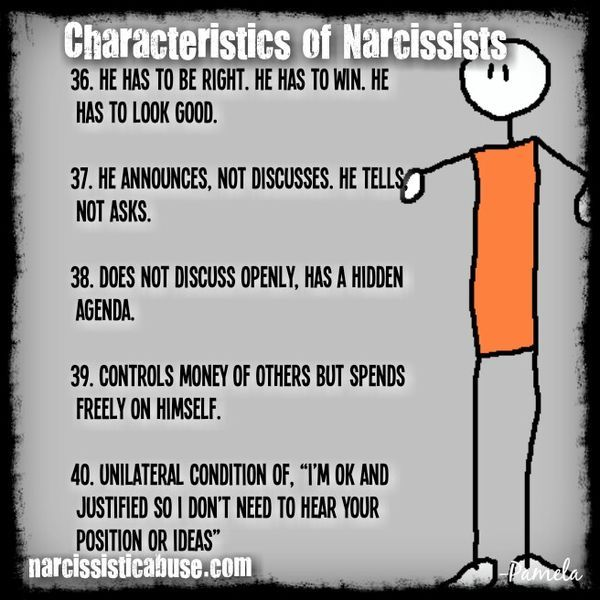 relationship traits of a narcissist