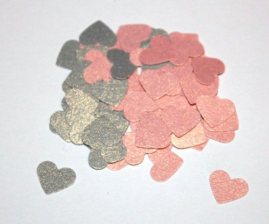 100 Mini Pink and Grey Shimmer Heart Confetti, Die Cut Confetti, Hearts, Valentine's Day, Wedding, Bridal Shower, Decorations, Pink and Grey...