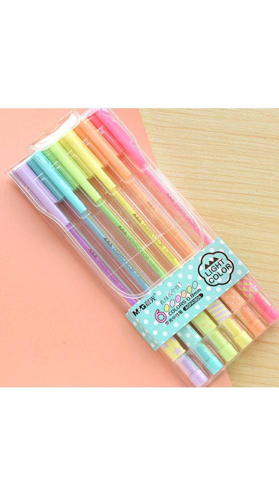 Fluorescent Gel Pen Set 6 pcs Korean Stationery Bright par TinyBees