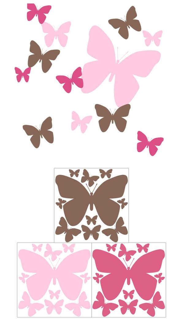 Butterfly Hot Pink and Brown Wall Decals - Wall Sticker Outlet