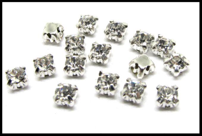 petits strass sertis couleur cristal blanc 4 mm / strass à coudre bijoux   broderie , strass , perles , diy , mercerie , cristal , diamant , boutique
