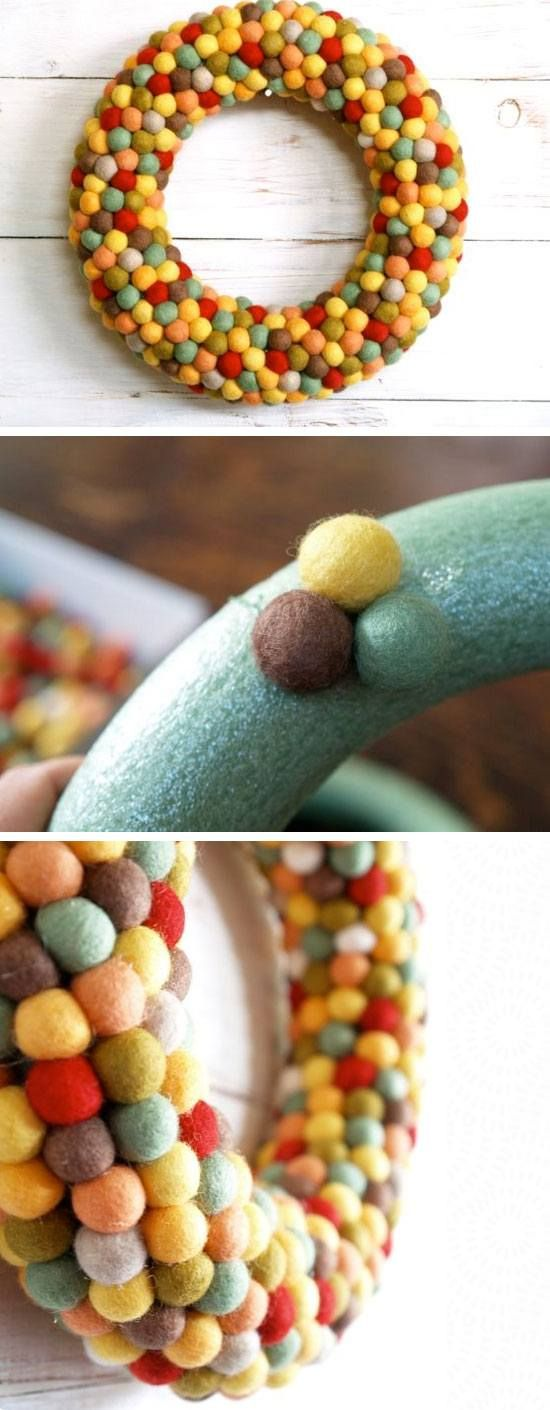 Felted Fall Wreath | 22 Easy Fall Crafts for Kids to Make | Fun Fall Crafts for Kids to Make #omgenius