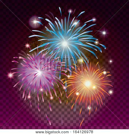 Glows bright star light fireworks poster. Flash and glow, sparkle illuminated, flare effect, shine explosion, spark magic card. Christmas decoration star burst on transparent dark background. Vector illustration