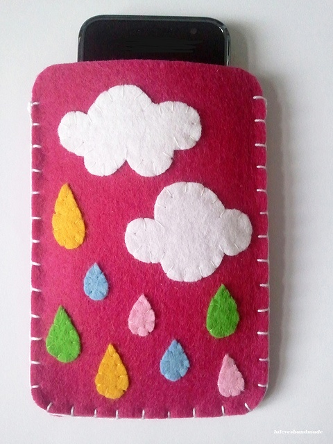 Handmade felt phone cover. by lu loves handmade,