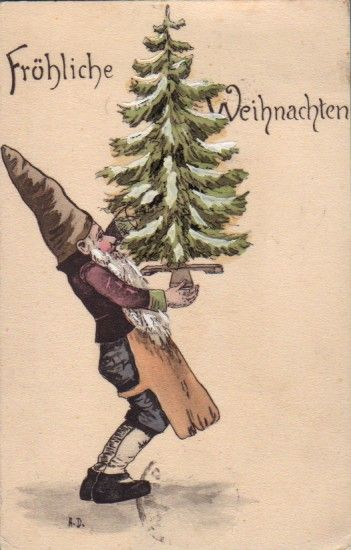 Postcard from Germany :: gnome Frohliche Weihnachten