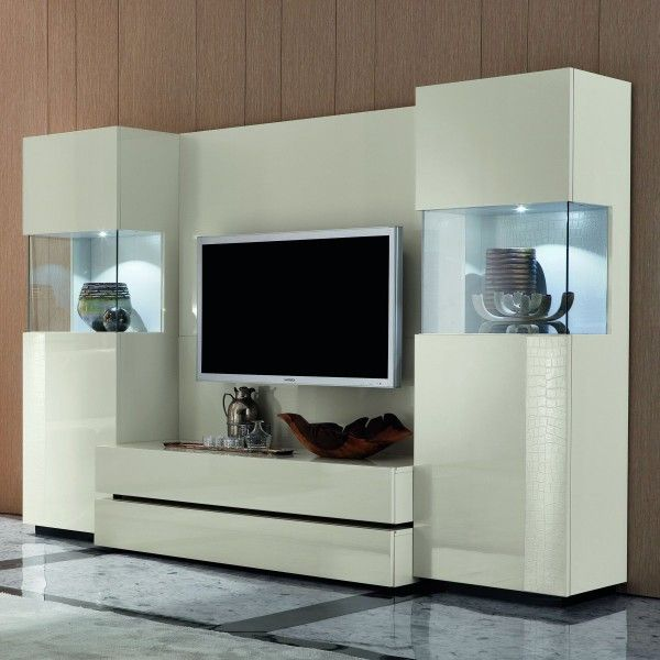 Unique-white-wall-unit-glass-showcase-living-room ...
