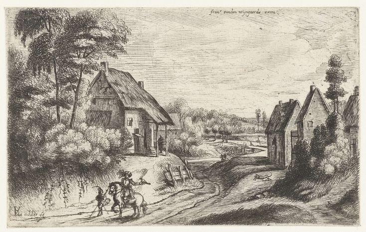Lodewijk de Vadder | Landschap met twee boerderijen langs een weg, Lodewijk de Vadder, 1615 - 1655 | Een landweg tussen twee boerderijen. Op de weg een valkenier te paard met een valk op zijn arm, naast hem een jager te voet.