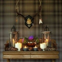 'Hogmanay' console table/tartan wallpaper styled by Charis White for BBC Homes & Antiques magazine. Photograph: Catherine Gratwicke. Check out Scottish Style on my blog: www.chariswhite.com
