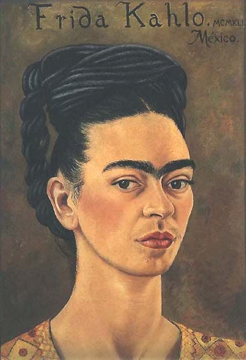 Self portrait in red and gold dress - by Frida Kahlo