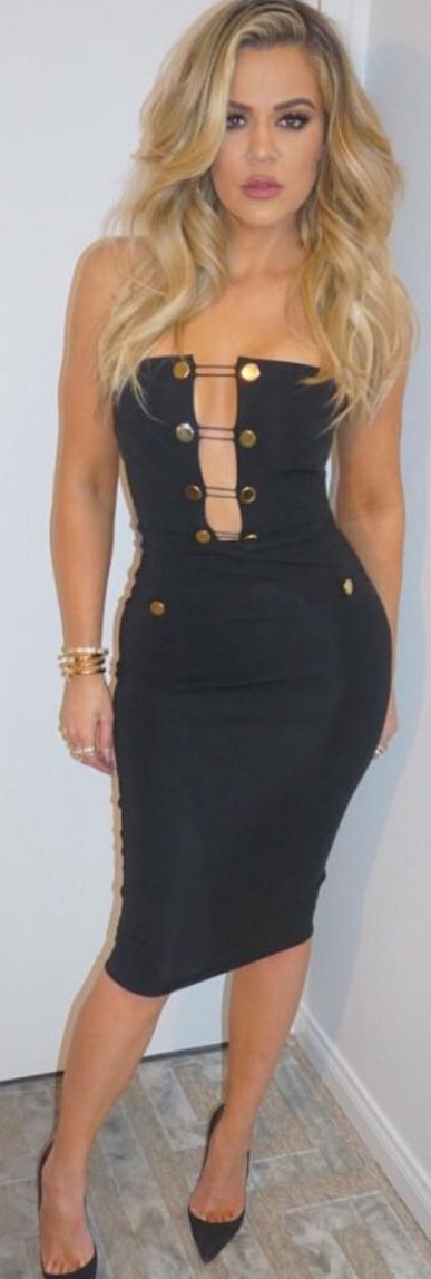 Who Made Khloe Kardashians Black Strapless Dress, Gold -9701