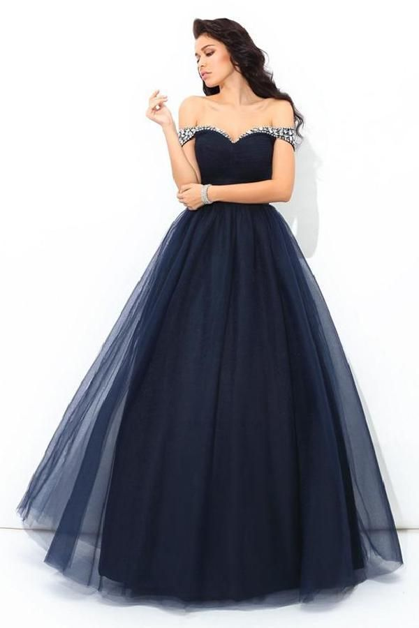 Outstanding Long Party Dress, Navy Blue Prom Dresses, Prom ...