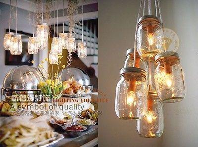 New Modern Color Glass Bottle Pendant Lamp Jar Chandelier Ceiling Light Vintage