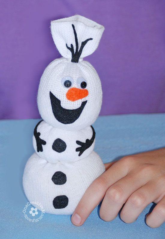 Olaf Sock Snowman Tutorial -- Add felt details