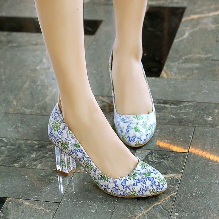 Womens Blue And White Printed Crystal Block High Heel Round Toe Court Shoes