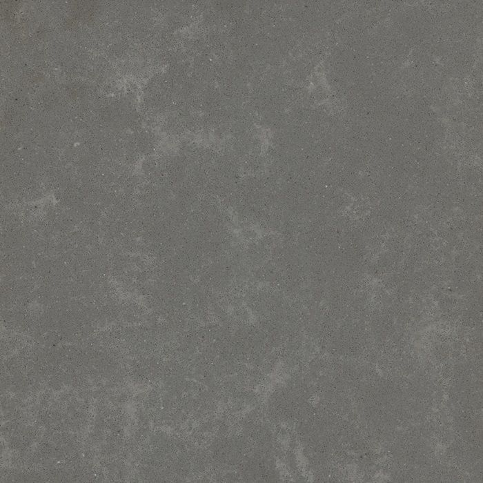 Metropolis Grey quartz - lighter in other images. Cool surface.  Factory recommends sealing honed and brushed quartz slabs with a water based sealer, to help with the ease of daily maintenance.