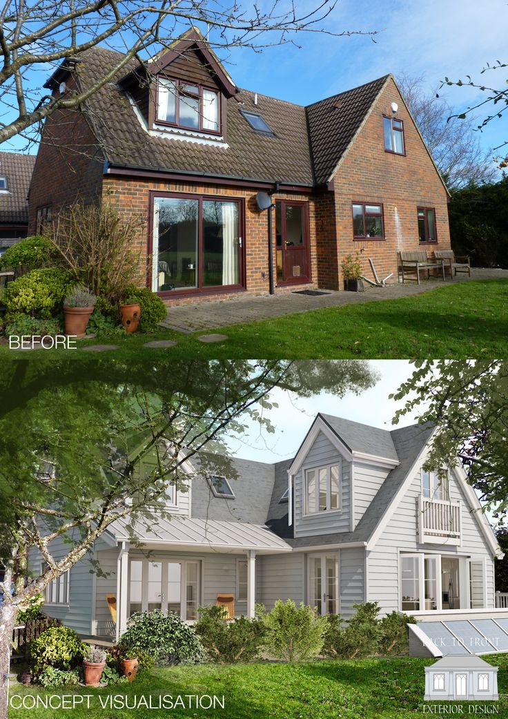 New England style proposed transformation in Surrey. Charm and character designed with eco measures in mind. By Back to Front Exterior Design