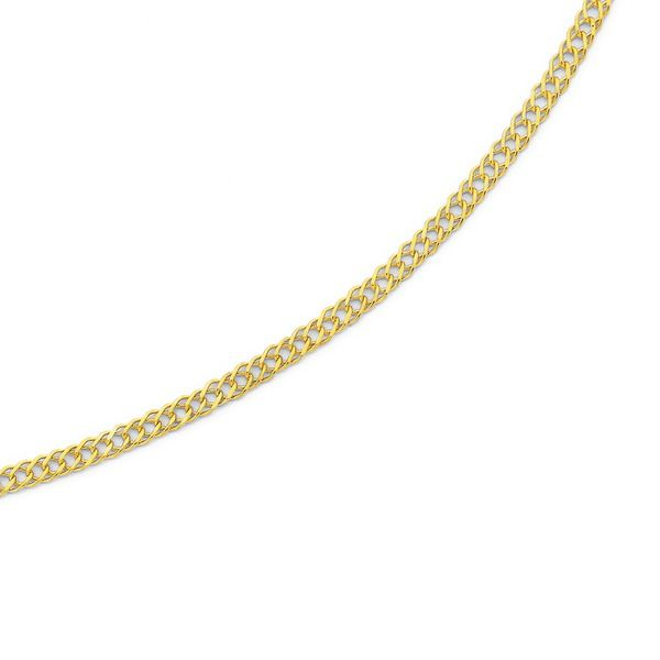 9ct Gold 25cm Diamond Cut Double Curb Anklet