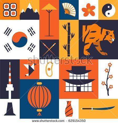 e2e283f58a5 South Korea. Korean cultural symbols. Set of flat icons. Traditional ...