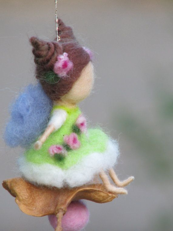 Needle felted little magic fairy green by Made4uByMagic on Etsy, $27.00