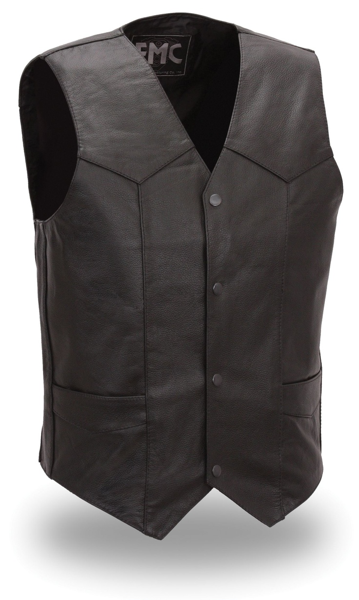 Mens Classic 4 Snap Leather Motorcycle Vest by First Mfg.   www.mymotorcycleclothing.com