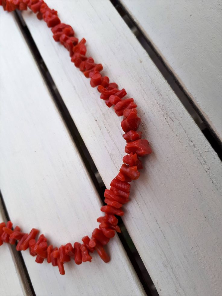 Classic Natural Branch Coral Necklace Salmon Red 49 cm - Stunning! by semelesparlour on Etsy