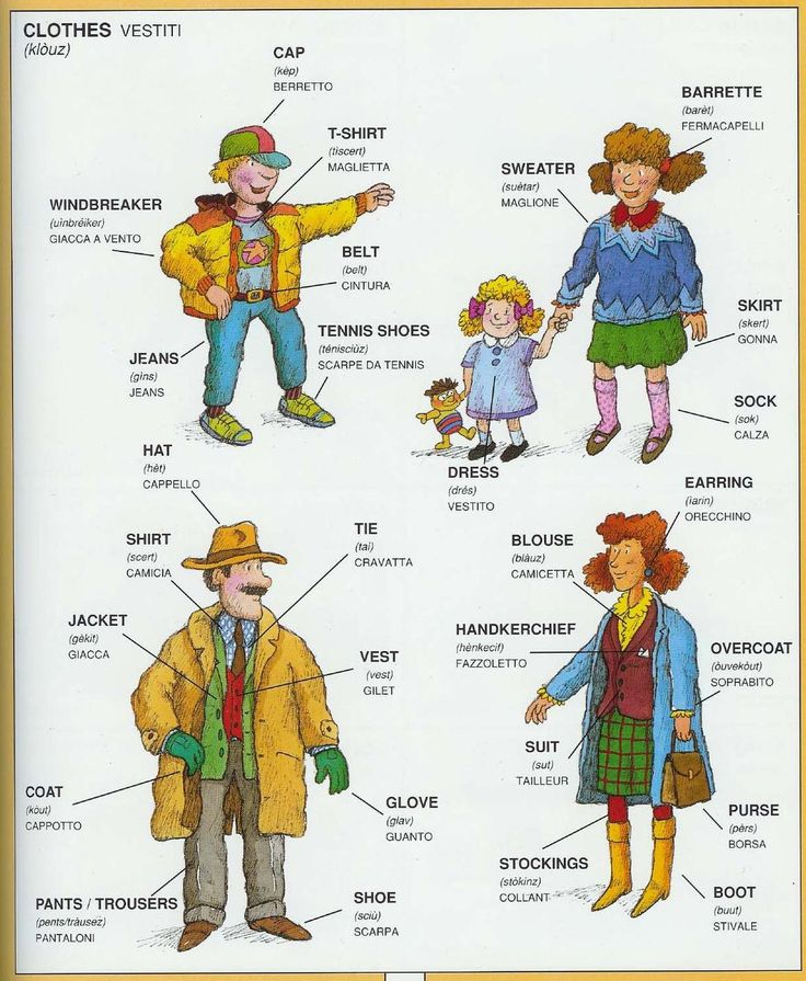 #1351 Parole Inglesi Per Piccoli e Grandi -  Illustrated #Dictionary - #Clothes #english #italian