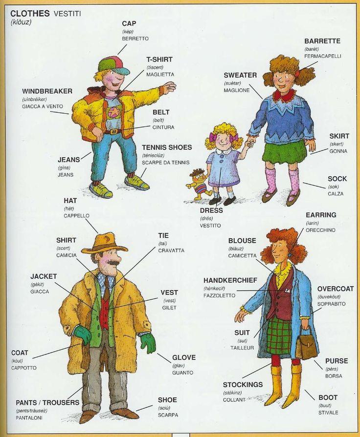#1351 Parole Inglesi Per Piccoli e Grandi - Illustrated #Dictionary - #Clothes #english #italian