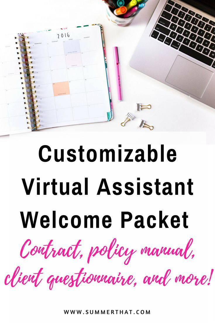Customizable Virtual Assistant Welcome Packet | Welcome Letter, Rates and Packages Template, Policies Manual, Client Questionnaire, and more!