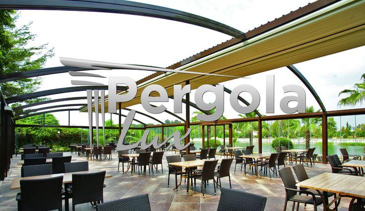 """Pentru pergolele cu acoperis retractabil nu exista spatiu """"prea mare"""". Sustinem astfel de proiecte, care la randul lor sutin evenimente mari, de impact, cu multe zambete de multumire. www.pergolalux.ro"""