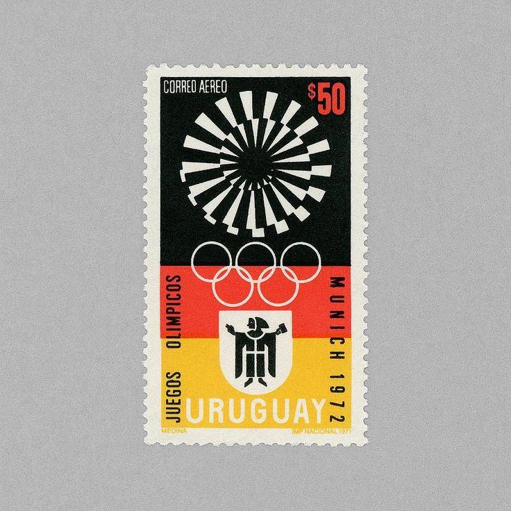 Airmail - Olympic Games Munich. Uruguay 1972. Design: Angel Medina. #mnh #mintneverhinged #mnh_ury #postagestamps #uruguay #graphilately by mintneverhinged