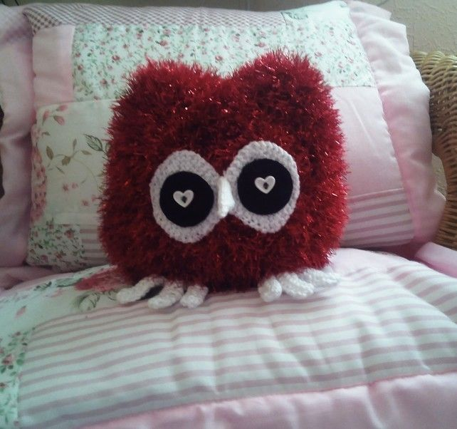 Owl Toy For Children And Collectable, Handmade Knitted Red Sparkle Owl £12.95