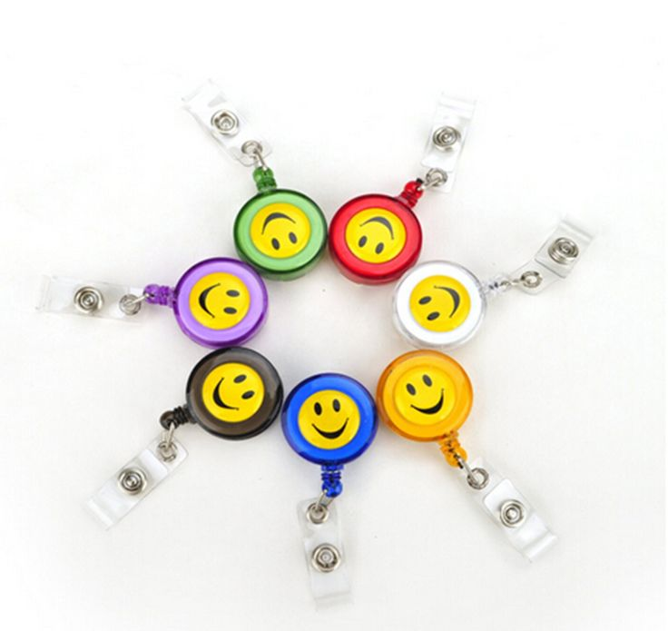 5 pcs/lot Compact Design Smiling Face ID Holder Name Tag Card key Badge Holder Retractable Round Solid Translucent ID Holder