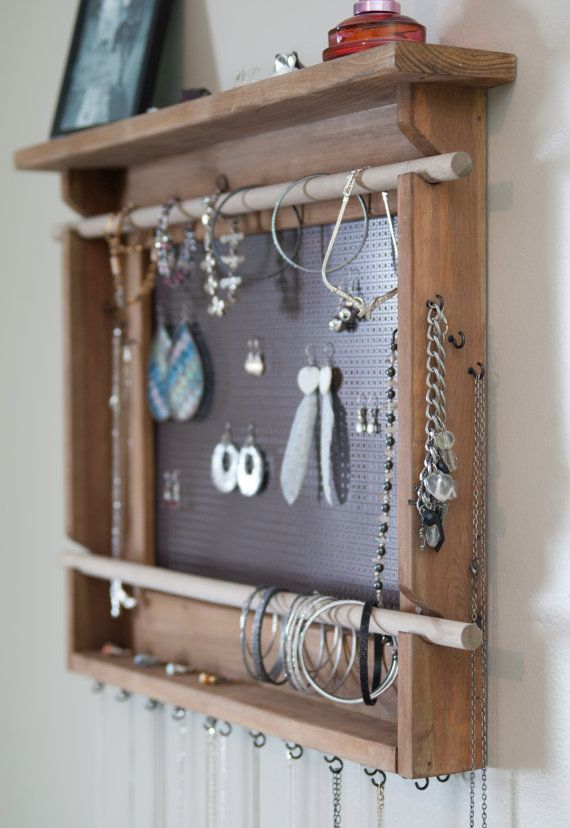 Jewelry Organizer, LARGE Wall Mounted Jewelry Holder, Bronze Metal earring holder with necklace hangers and 2 bracelet bar