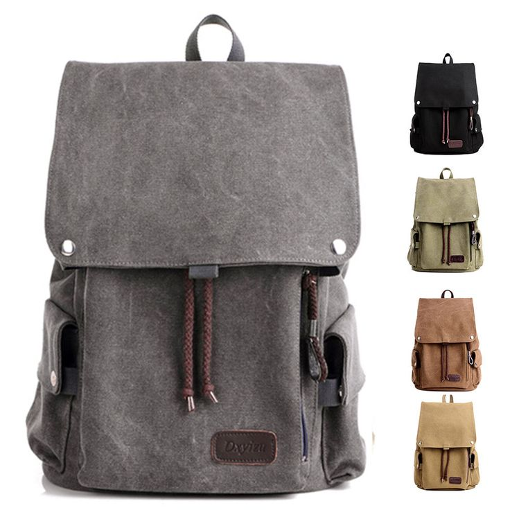Men Vintage Canvas Backpack New Flap Over Backpack Shoulder Bags Laptop Bags #Dxyizn