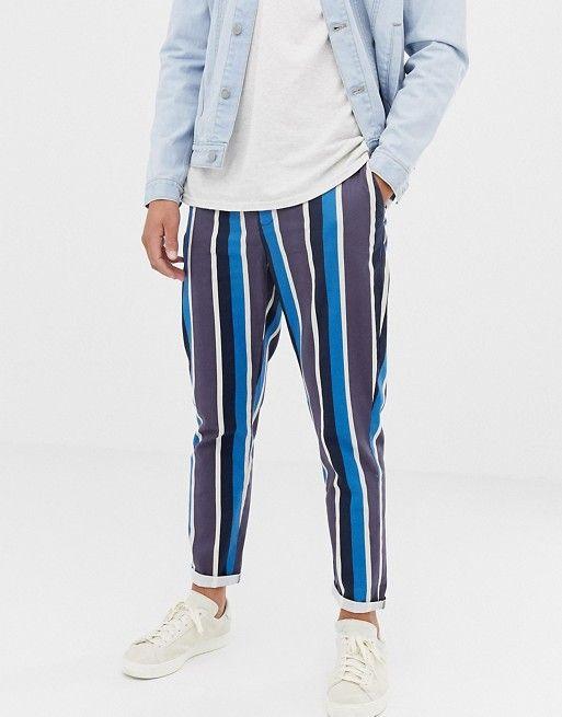 f77685c99b DESIGN tapered pants in blue stripe in 2019 | Striped pants men ...