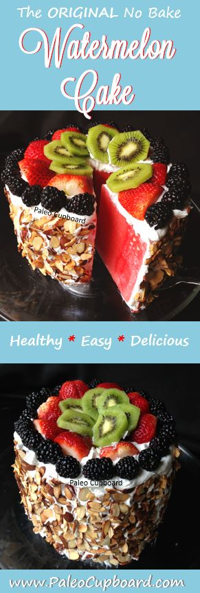 Watermelon Cake Recipe - www.PaleoCupboard.com #paleo  As featured in Women's Health Magazine!