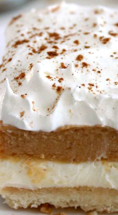 Pumpkin Lush Bars ~ Layers of cream cheese filling, pumpkin pudding,  and whipped topping, all on top of a yummy shortbread crust