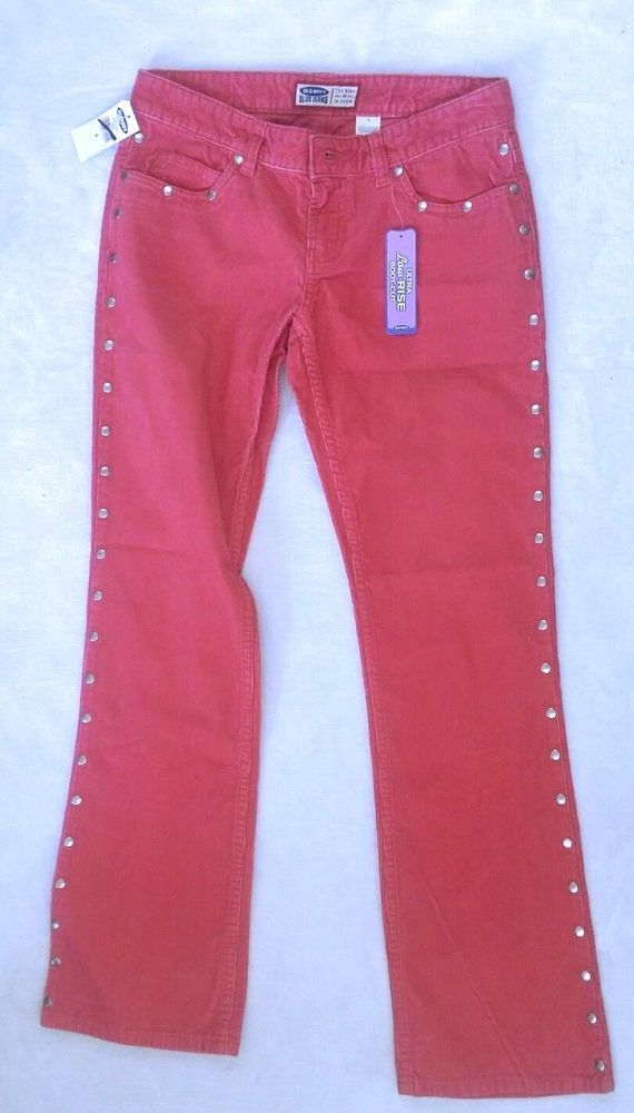 Old Navy Jeans 4 Pink Corduroy Ultra Low Rise Boot Cut Studded New with Tags     #OldNavy #BootCut