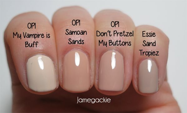 Neutral Colors: OPI My Vampire is Buff, OPI Samoan Sands, OPI Don't Pretzel My Buttons and Essie Sand Tropez.