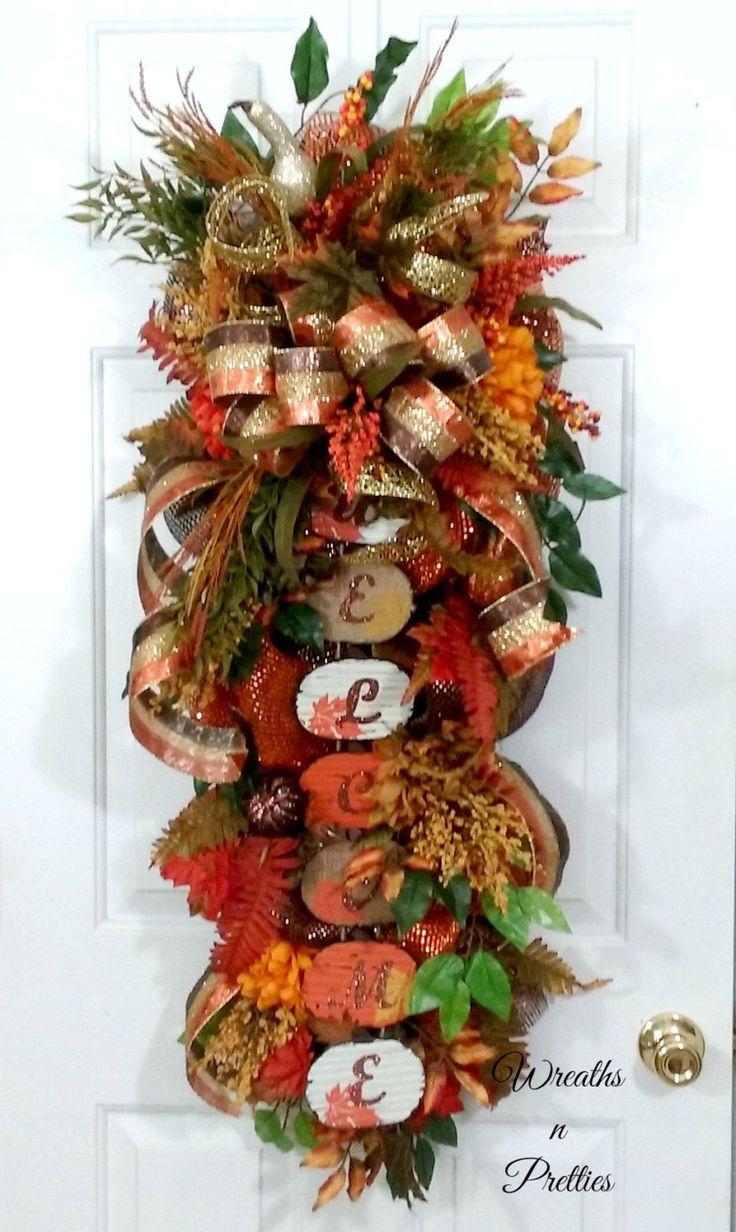 Fall deco mesh swag,Fall wreath,Fall swag,Fall deco mesh wreath,XL wreath by WreathsnPretties on Etsy