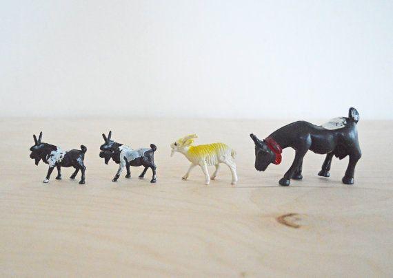 7 Vintage Plastic Toy Goat Figurines Farm Animal Instant