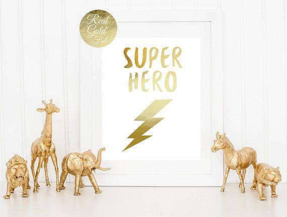 Niños habitación decoración, impresión de súper héroe, niños impresión, impresión de la hoja de oro Real, vivero cartel, cartel de oro Super héroe, niños habitación decoración, arte de la pared de los cabritos