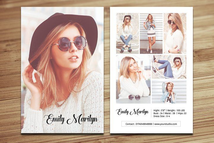Modeling Comp Card Template Ms Word Photoshop Template 551314 Flyers Design Bundles Model Comp Card Model Headshots Card Templates Free