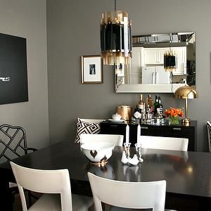 Erika Brechtel - dining rooms - ebony, stained, buffet, dining table, white, leather, open back, dining chairs, gray, walls, beveled, mirror...