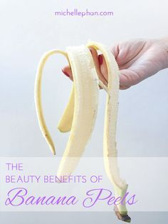 Beauty Benefits of Banana Peels: teeth whitener, skin brightener, wrinkle reducer, acne treatment, moisturizer, reduce puffy eyes. Basically just rub it all over your face.