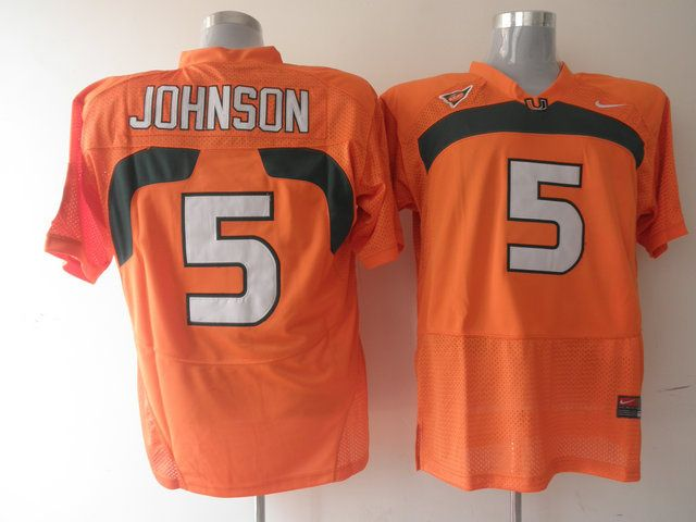 Men's NCAA Miami Hurricanes #5 Andre Johnson Orange Jersey