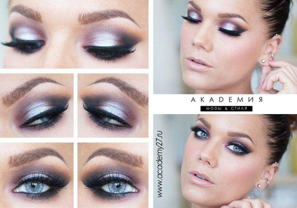Вечерний макияж, подчеркивающий голубые глаза