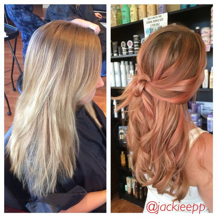Before/after rose gold balayage
