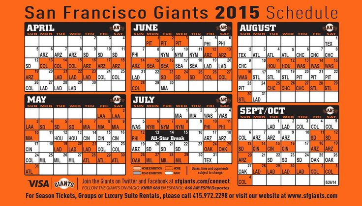 SF Giants 2015 Schedule as of 9 17 14 San Francisco 49ers and Giants Pinterest