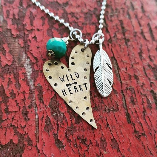 Hand Stamped Wild Heart Necklace by Buckincrazydesigns on Etsy